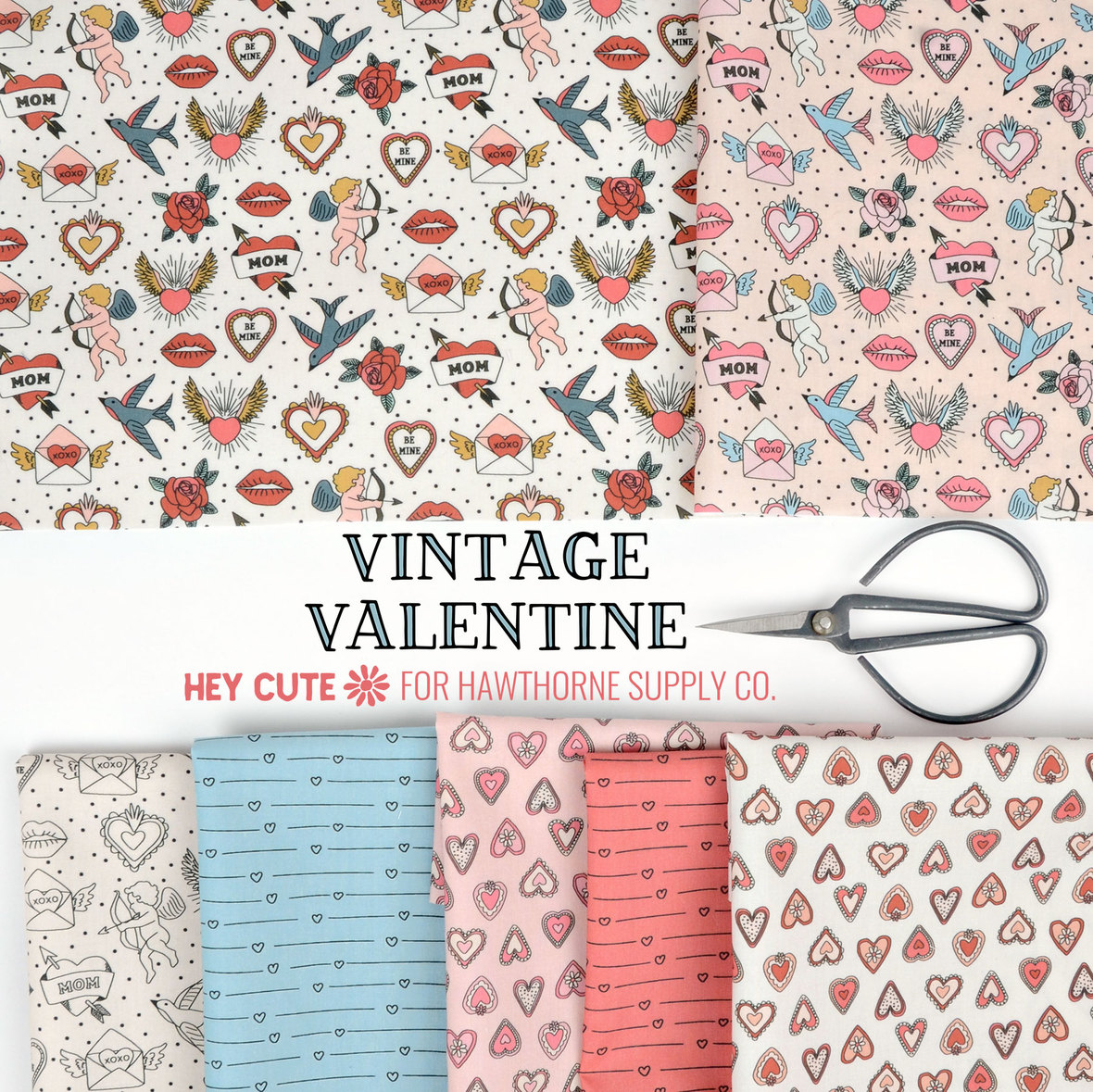 Vintage-Valentine-Fabric-Hey-Cute-Design-for-Hawthorne-Supply-Co