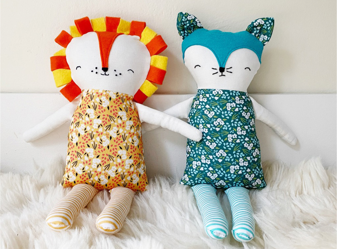 Lion and Fox dolls by tessie fay