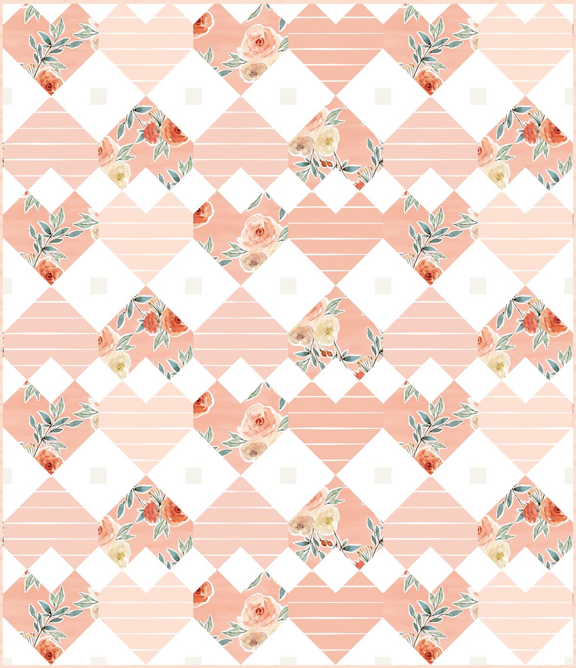 Large Patchwork Hearts Quilt Vintage Pink