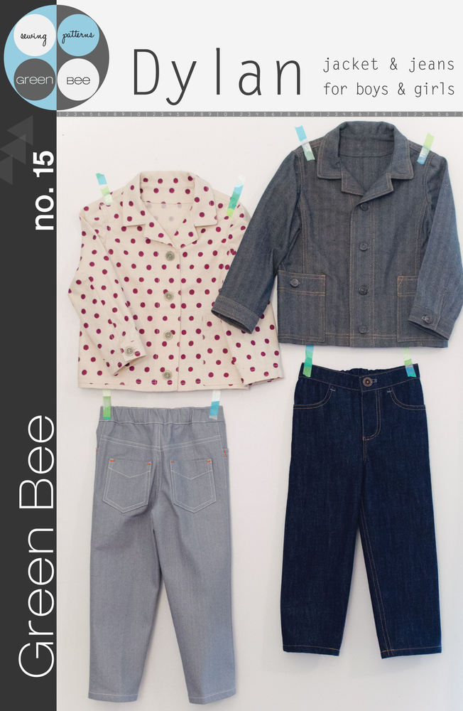 green bee design dylan jacket and jeans for boys and girls sewing pattern
