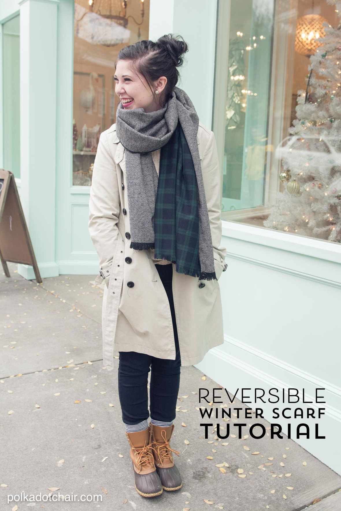 Polka dot chair-reversible-winter-scarf-tutorial-sew