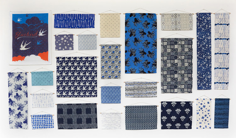 bluebird fabric poster