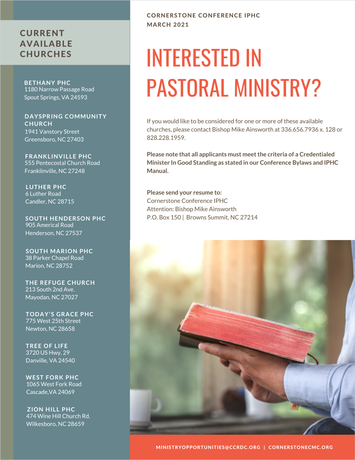 March 2021 CCRDC Ministry Opportunities
