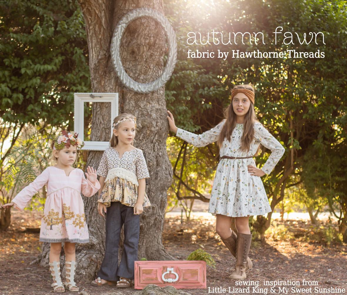 Autumn Fawn Fabric Girls Dress