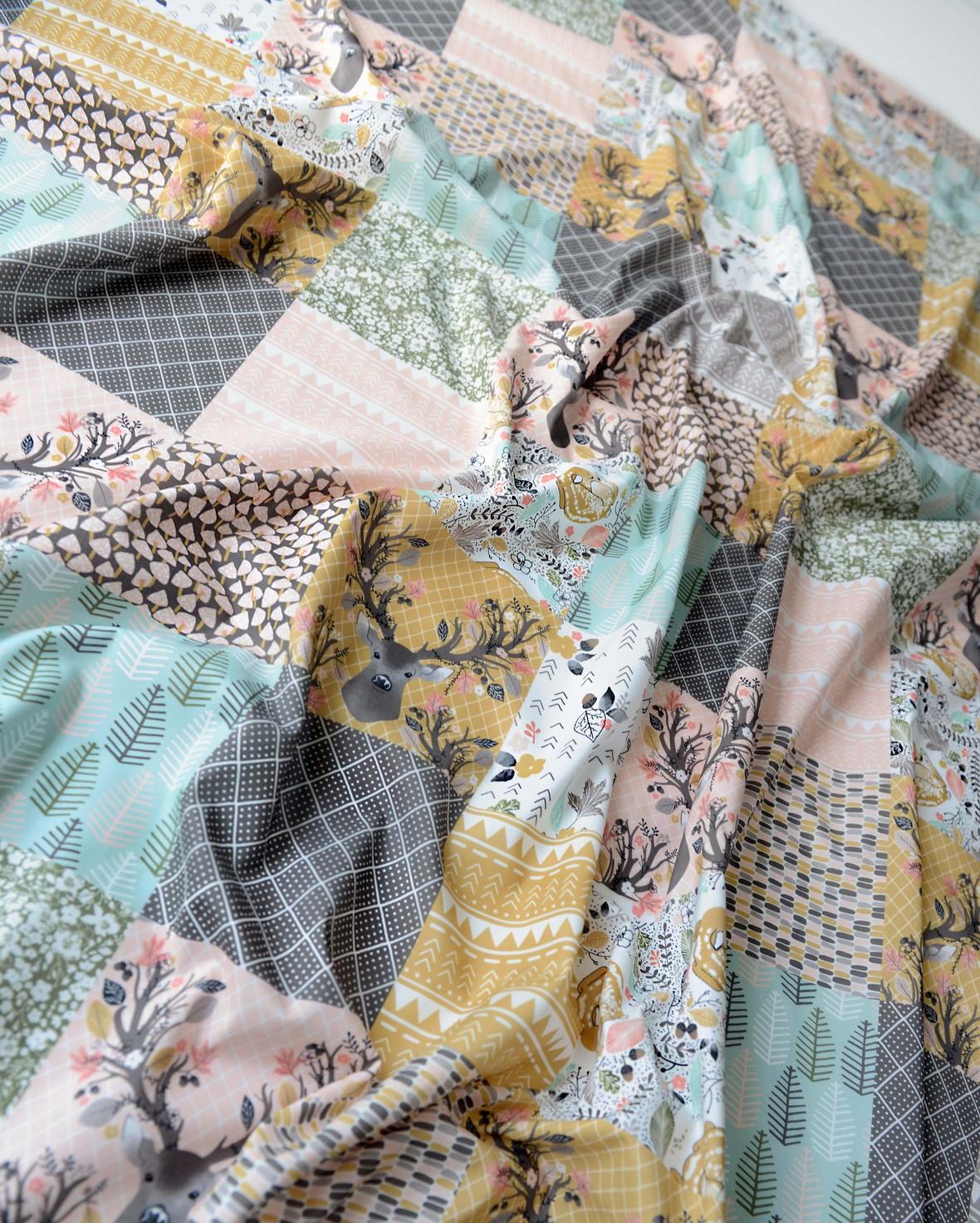 Autumn Fawn Faux Patchwork Print