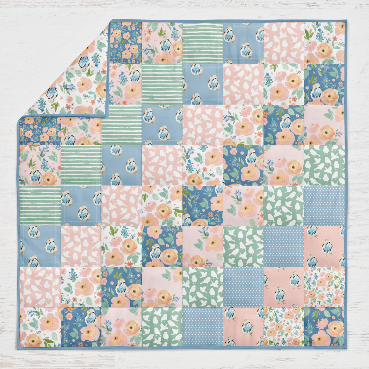 Spring Birdie Quilt 4in squares