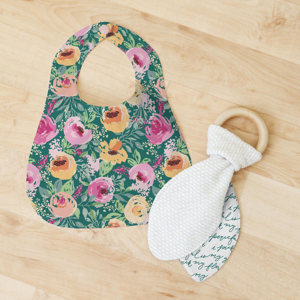 Bib and Teether in Natural Light
