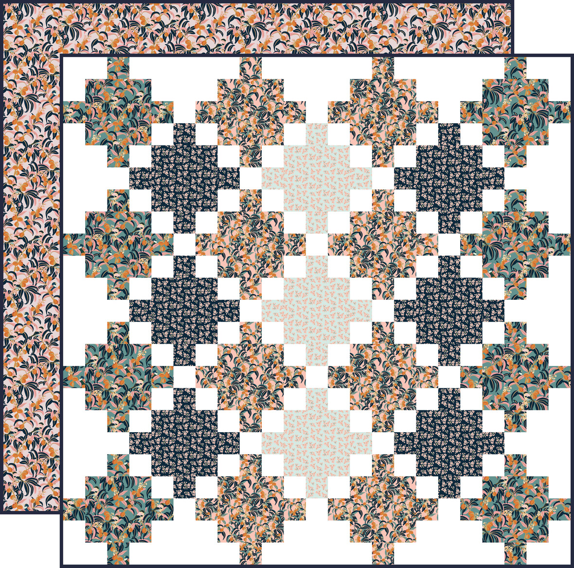 Peach Blossoms celtic crossing with backing