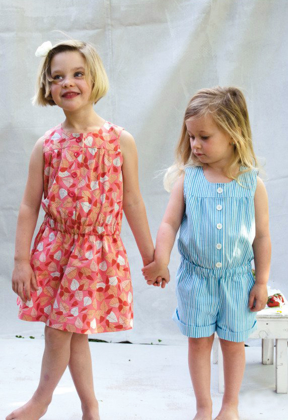 green bee design sally romper and dress sewing pattern cropped