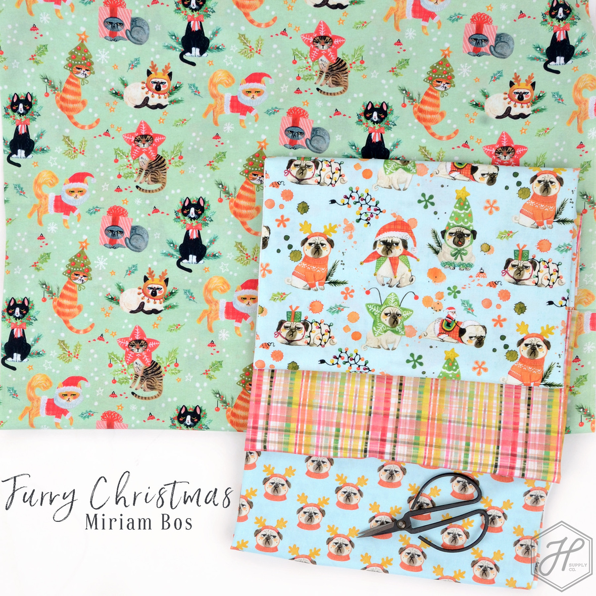 Furry-Christmas-fabric-Miriam-Bos-for-Dear-Stella-at-Hawthorne-Supply-Co