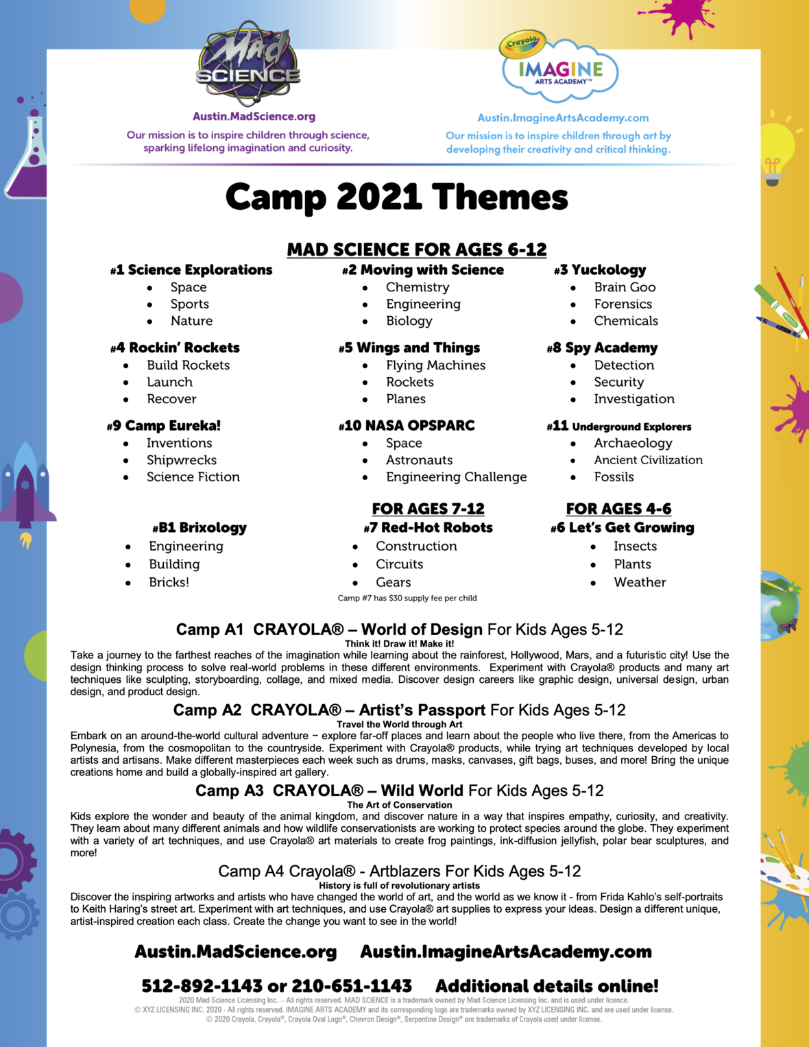 Summer Camp 2021 Austin Metro Area