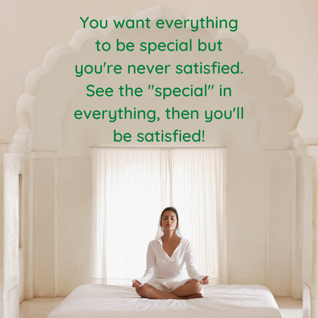 You want everything to be special but you re never satisfied. See the special in everything then you ll be satisfied