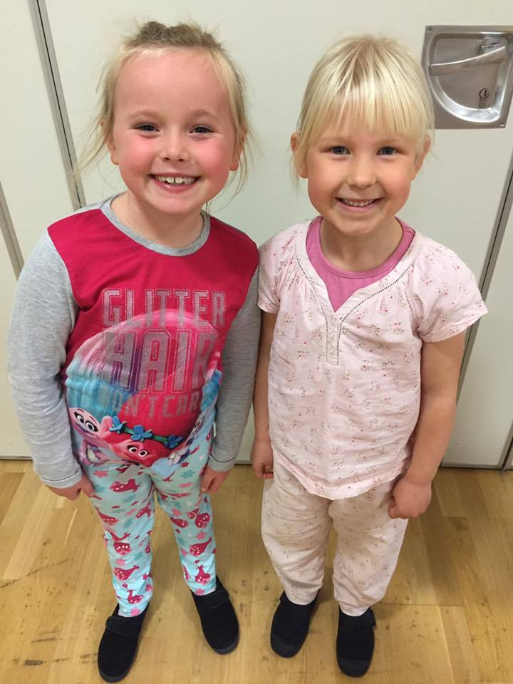 Isabelle and Annabel in pjs