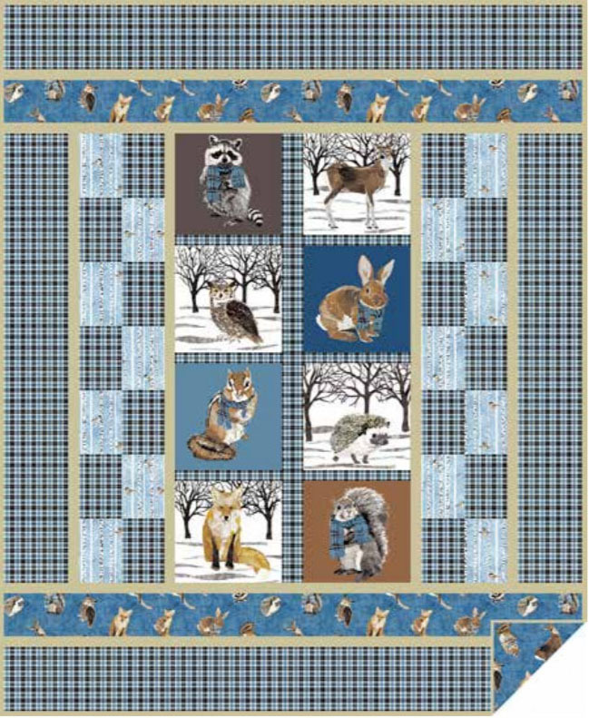 Forest Friends Quilt Blue Janet Houts Andover SIte