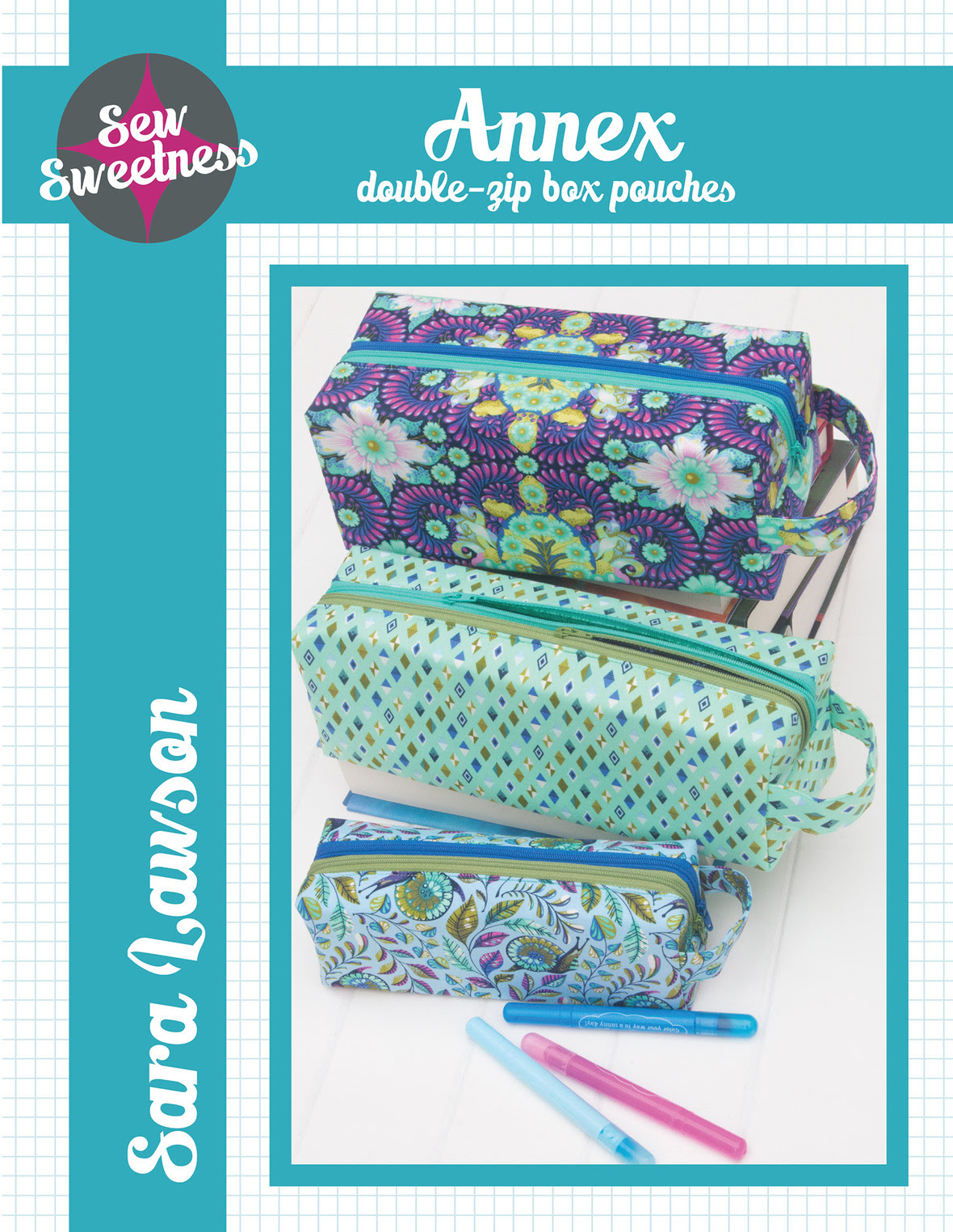 sew sweetness  annex double zip box pouch sewing pattern