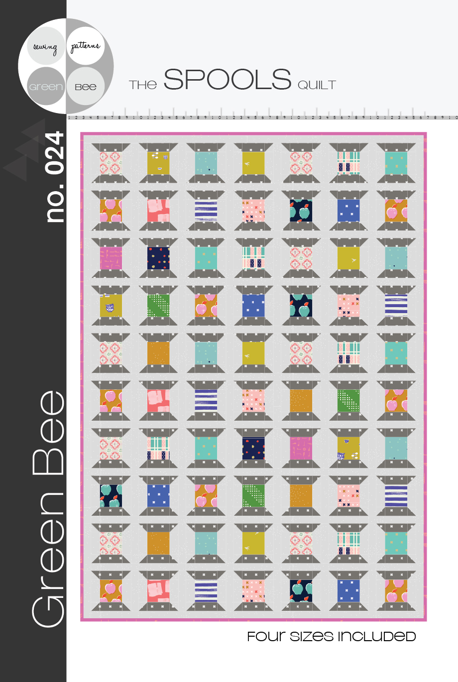 green bee design spools quilt sewing pattern
