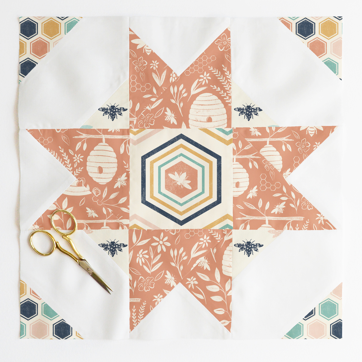 compass star quilt block 3