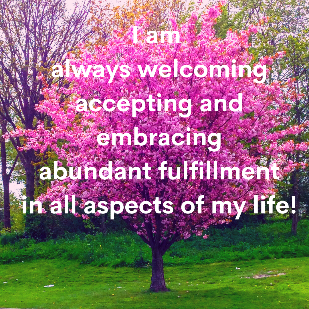 I am always welcoming accepting and embracing abundant fulfillment in all aspects of my life