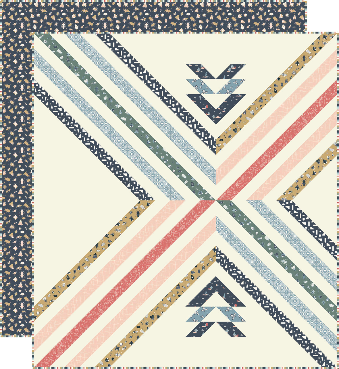 Stripe Crossing Quilt with backing