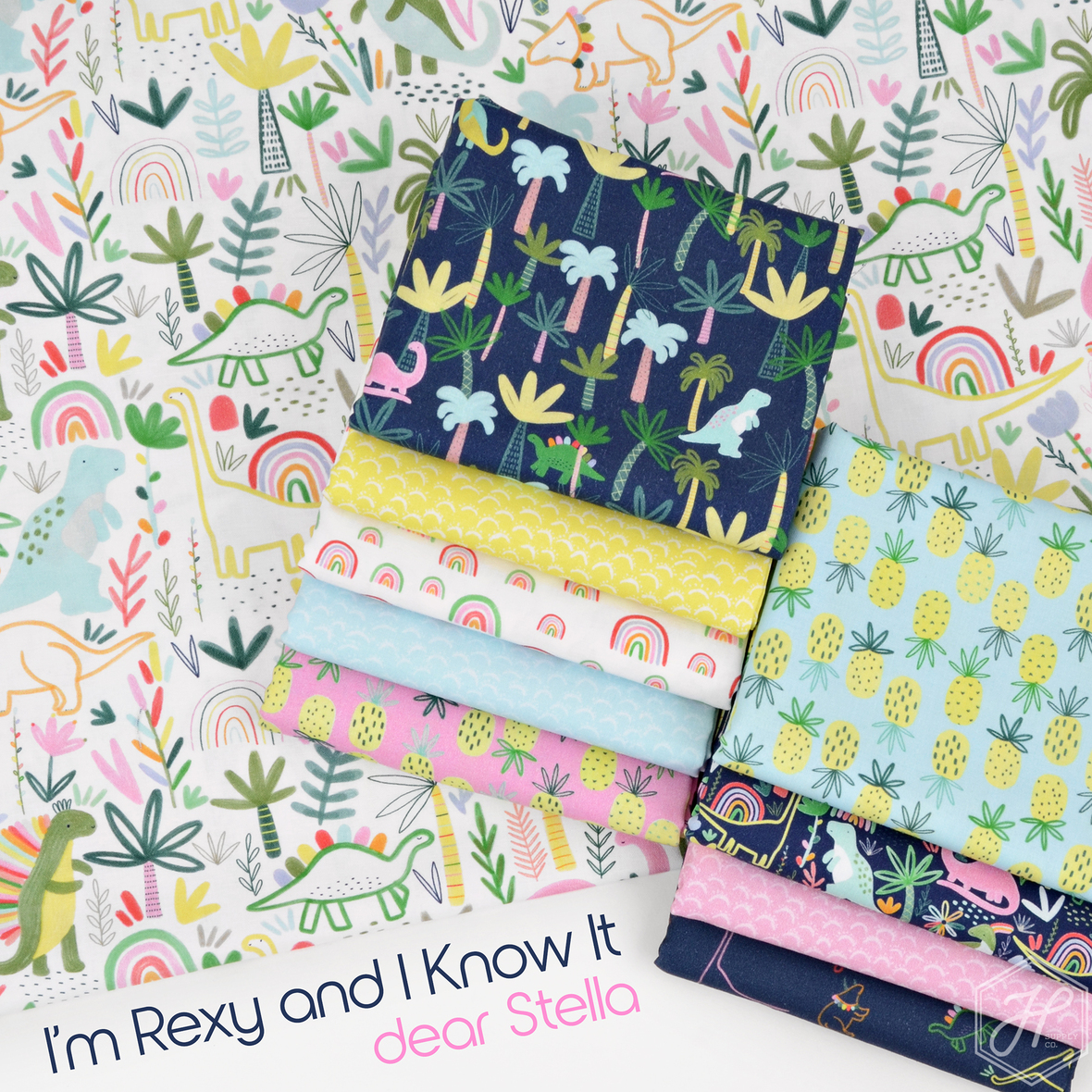 Im Rexy and I Know It fabric collection by dear stella at hawthorne supply co