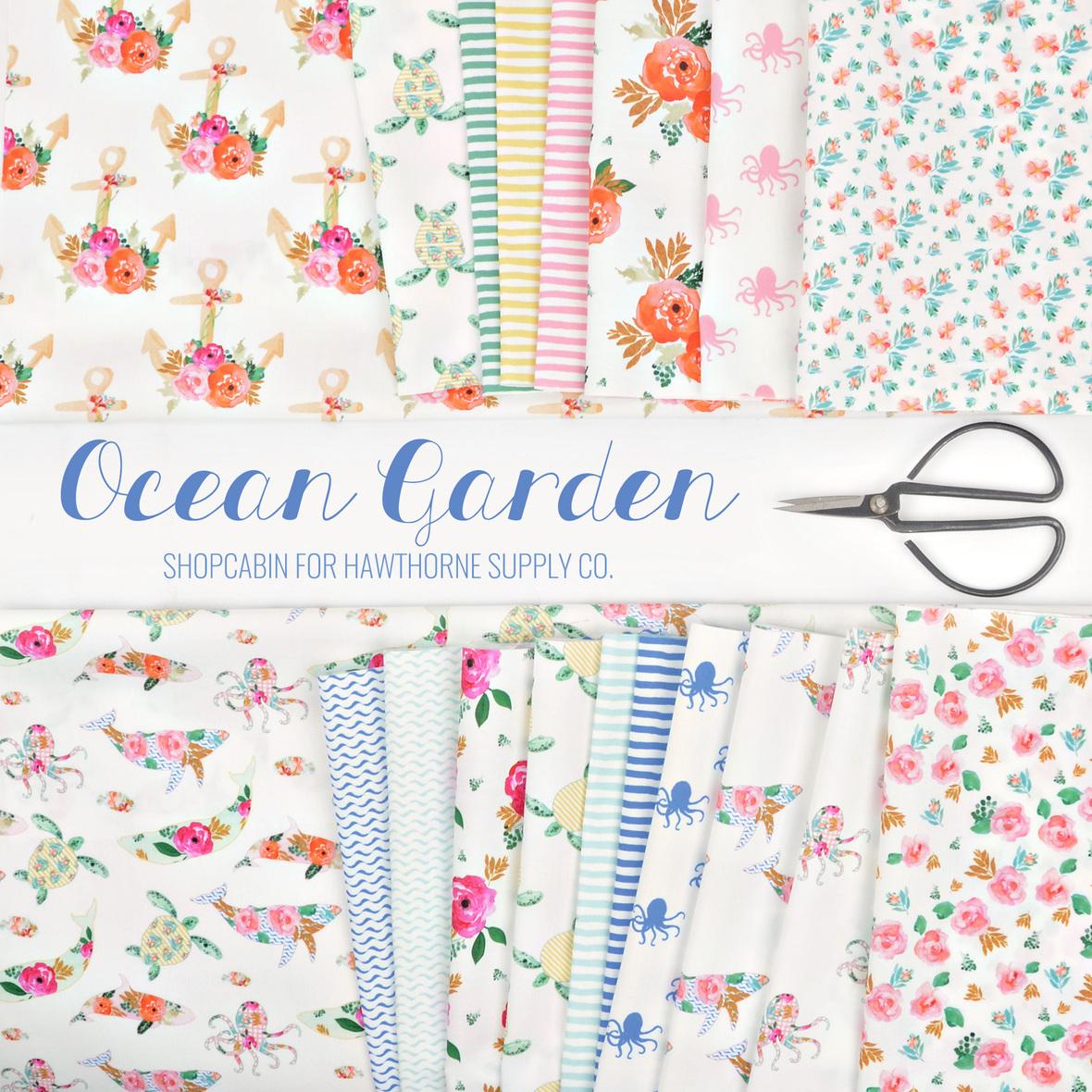 Ocean Garden Fabric Shopcabin for Hawthorne Supply Co