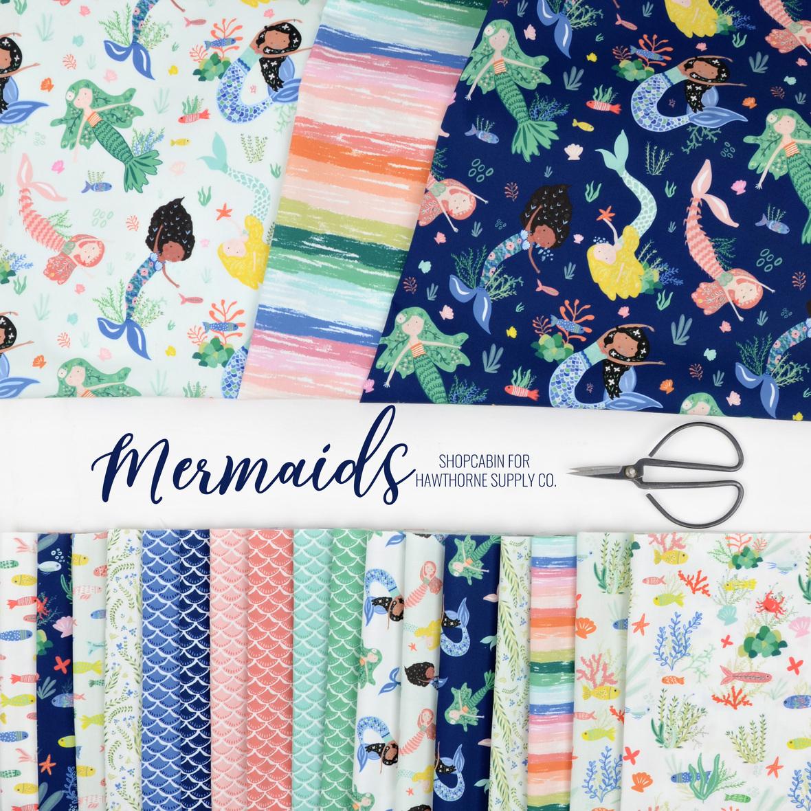 Mermaids Fabric Shopcabin for Hawthorne Supply Co.