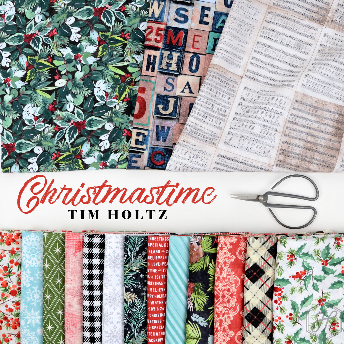 Christmastime fabric Tim Holtz for Free Spirit at Hawthorne Supply Co