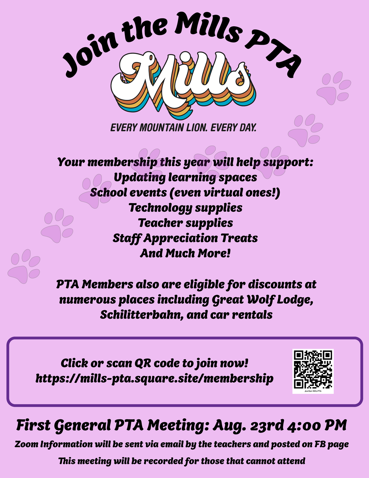 mills pta front page