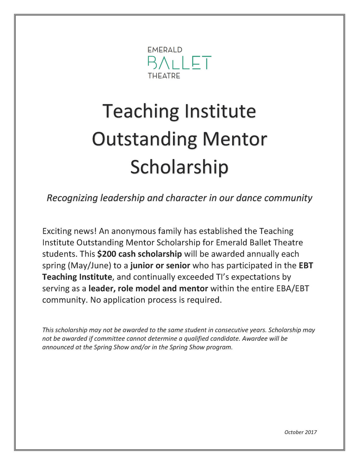 Teaching Institute Outstanding Mentor Scholarship