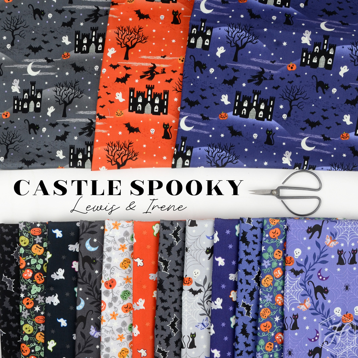 Castle Spooky Fabric Lewis and Irene Halloween at Hawthorne Supply Co