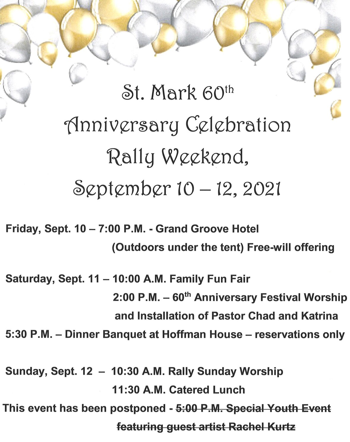 info for week of rally weekend
