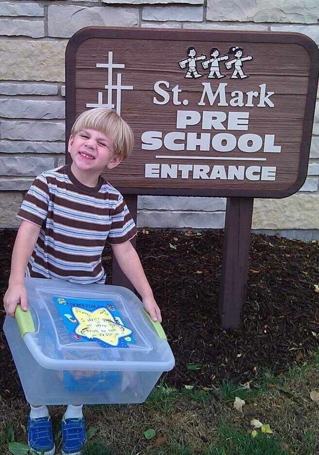 Preschool memories pic of Soren with snackbox