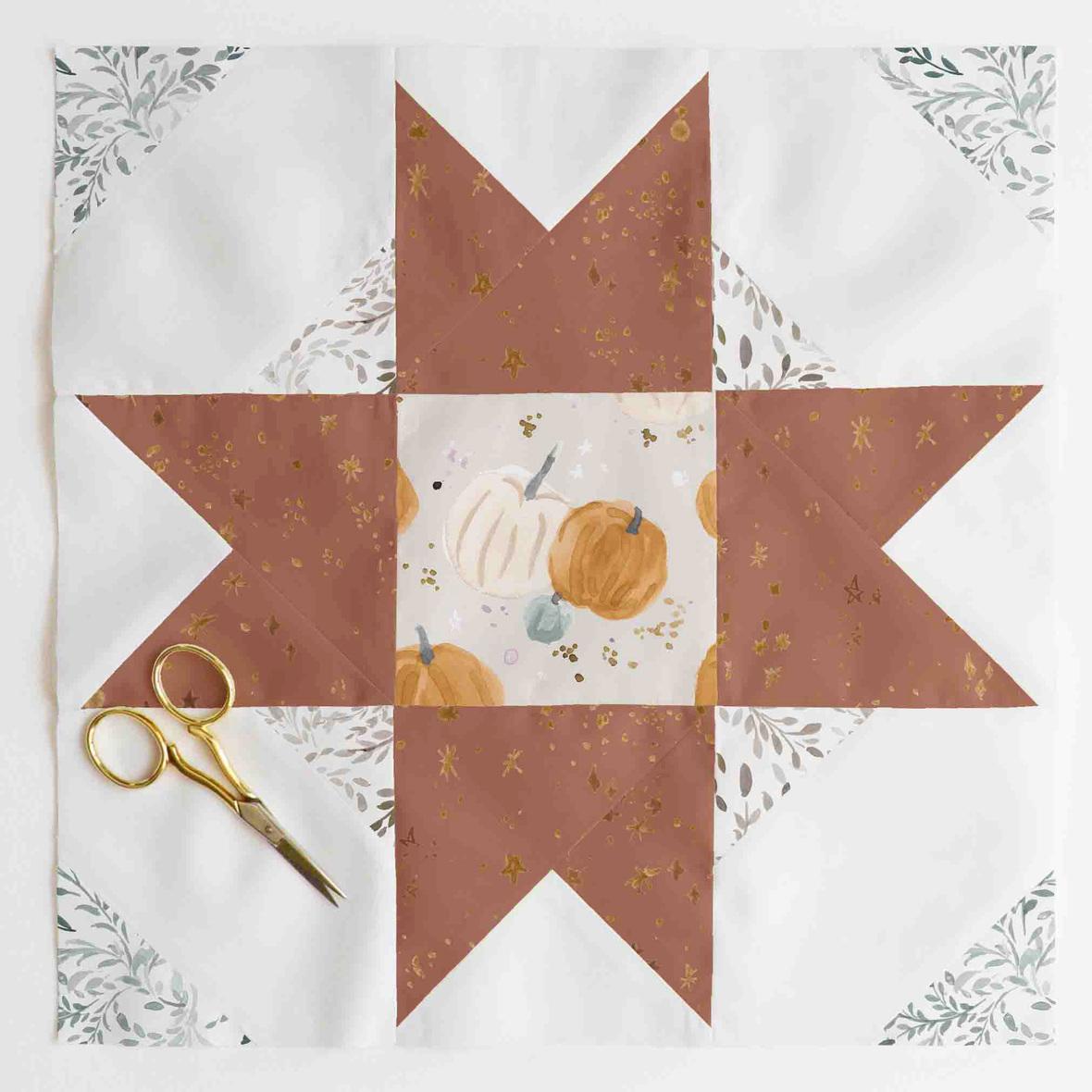 compass star quilt block 1