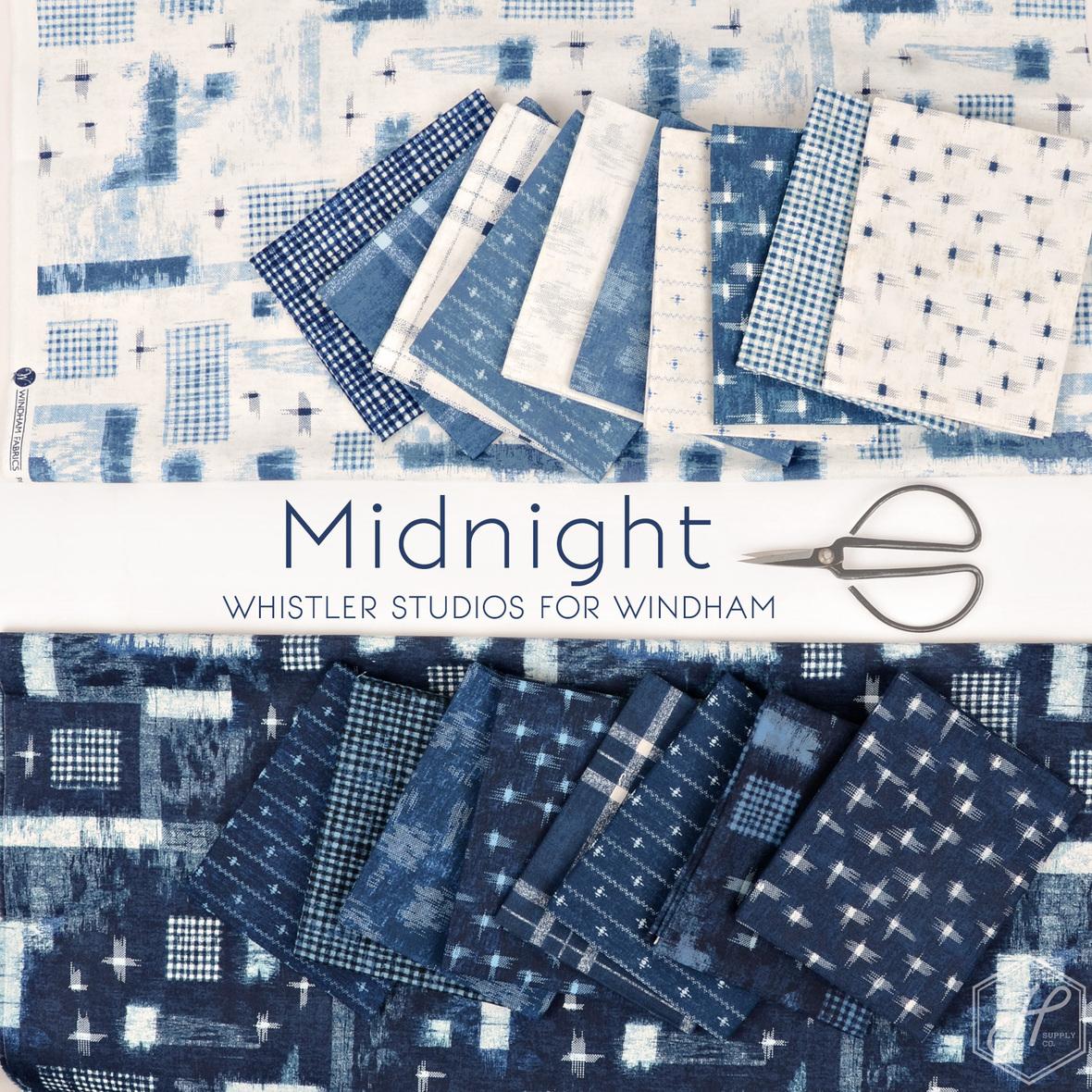 Midnight Whistler Studios for Windham at Hawtorne Supply Co indigo fabric