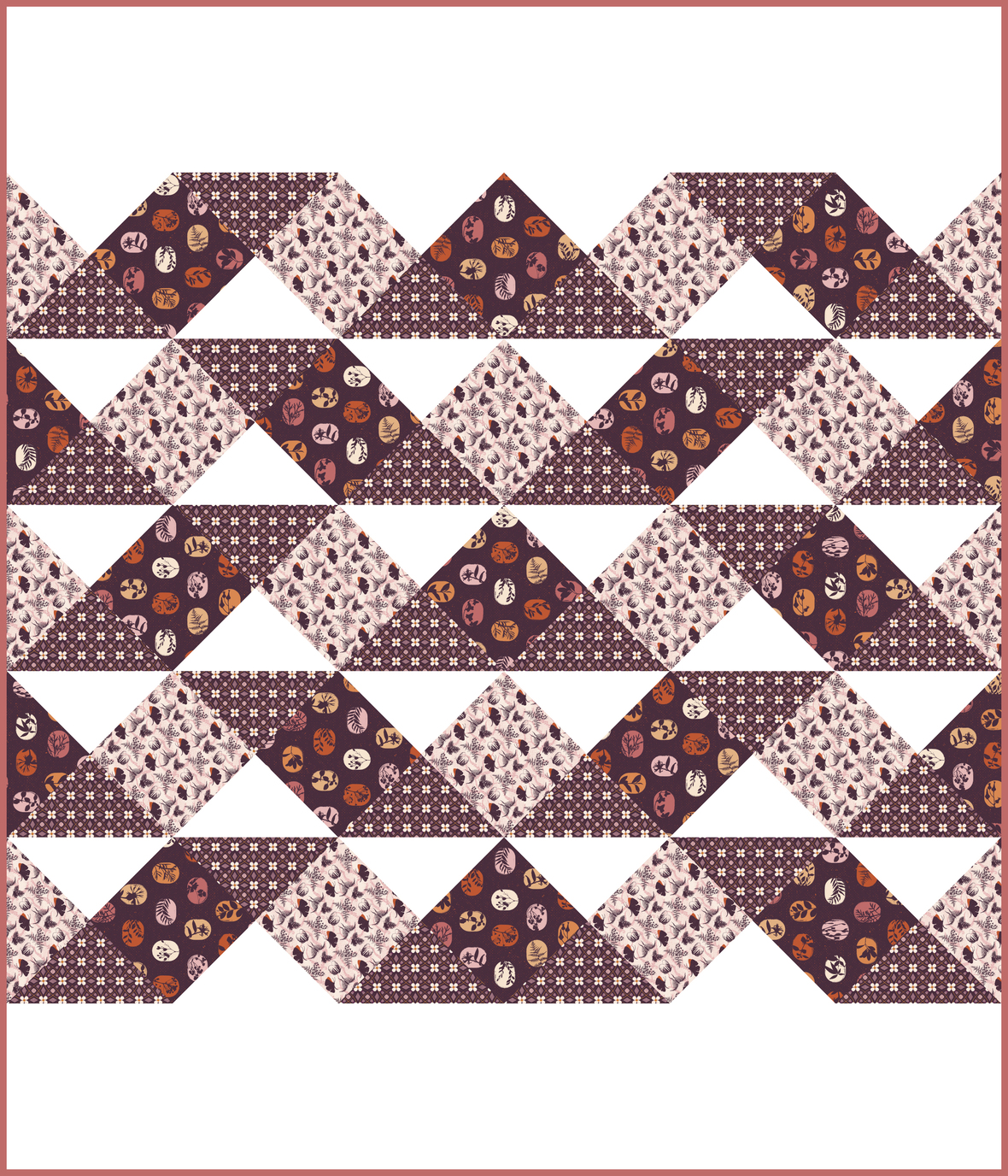 Seabreeze Quilt Fanciful Fronds Rosewood
