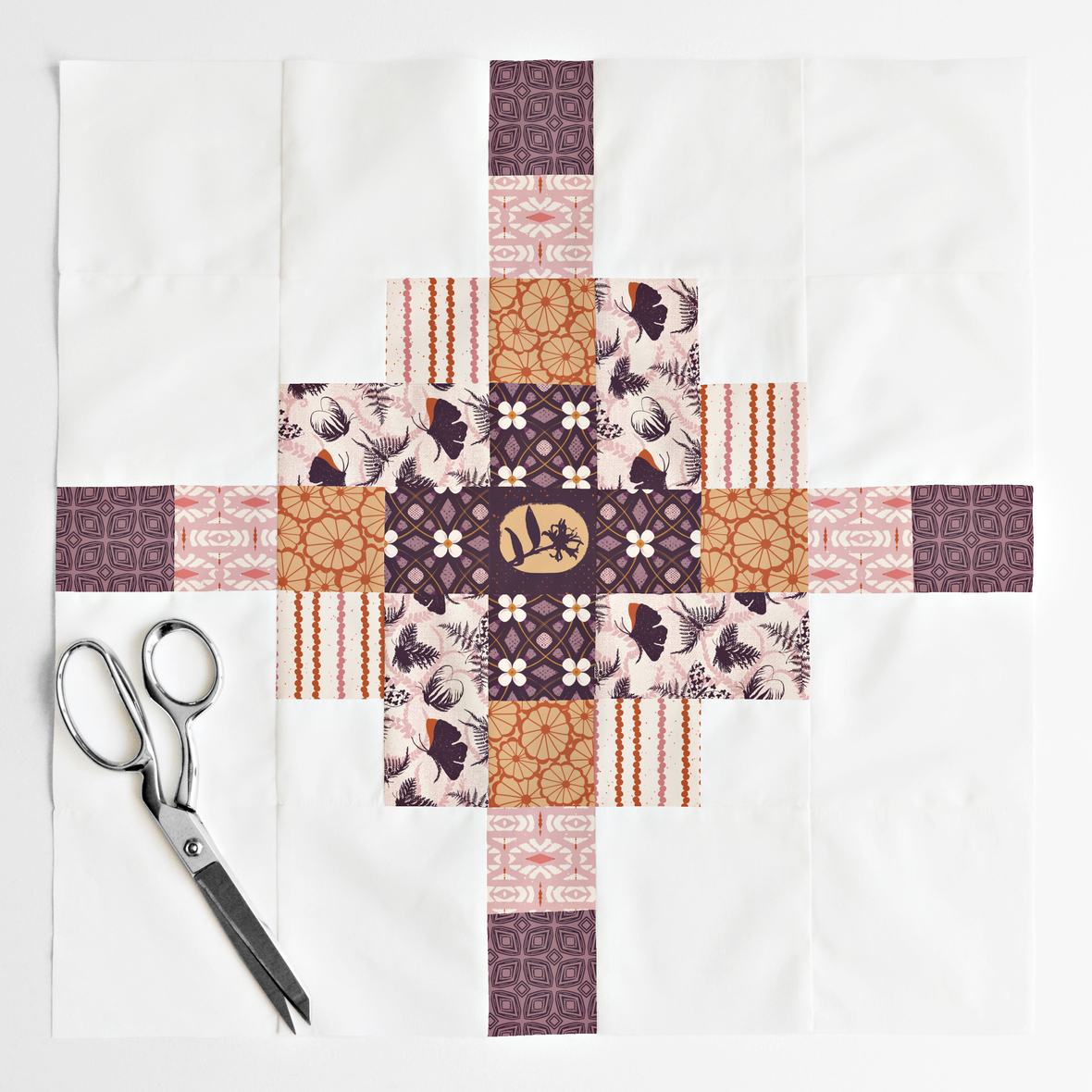Granny Cabin Quilt Block 100 percent Fanciful Fronds Rosewood
