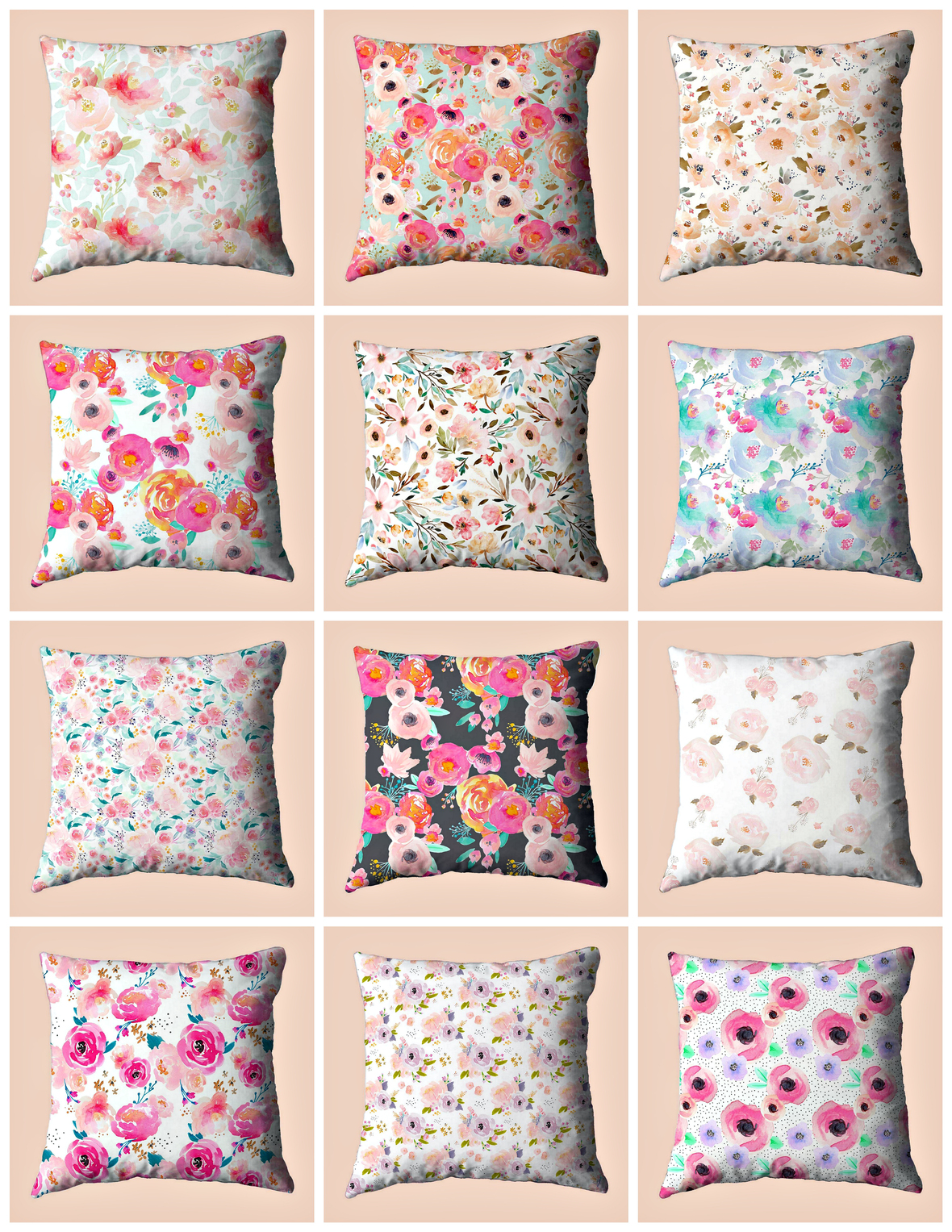 Indy Bloom Watercolor Floral Fabric Pillows Hawthorne Threads