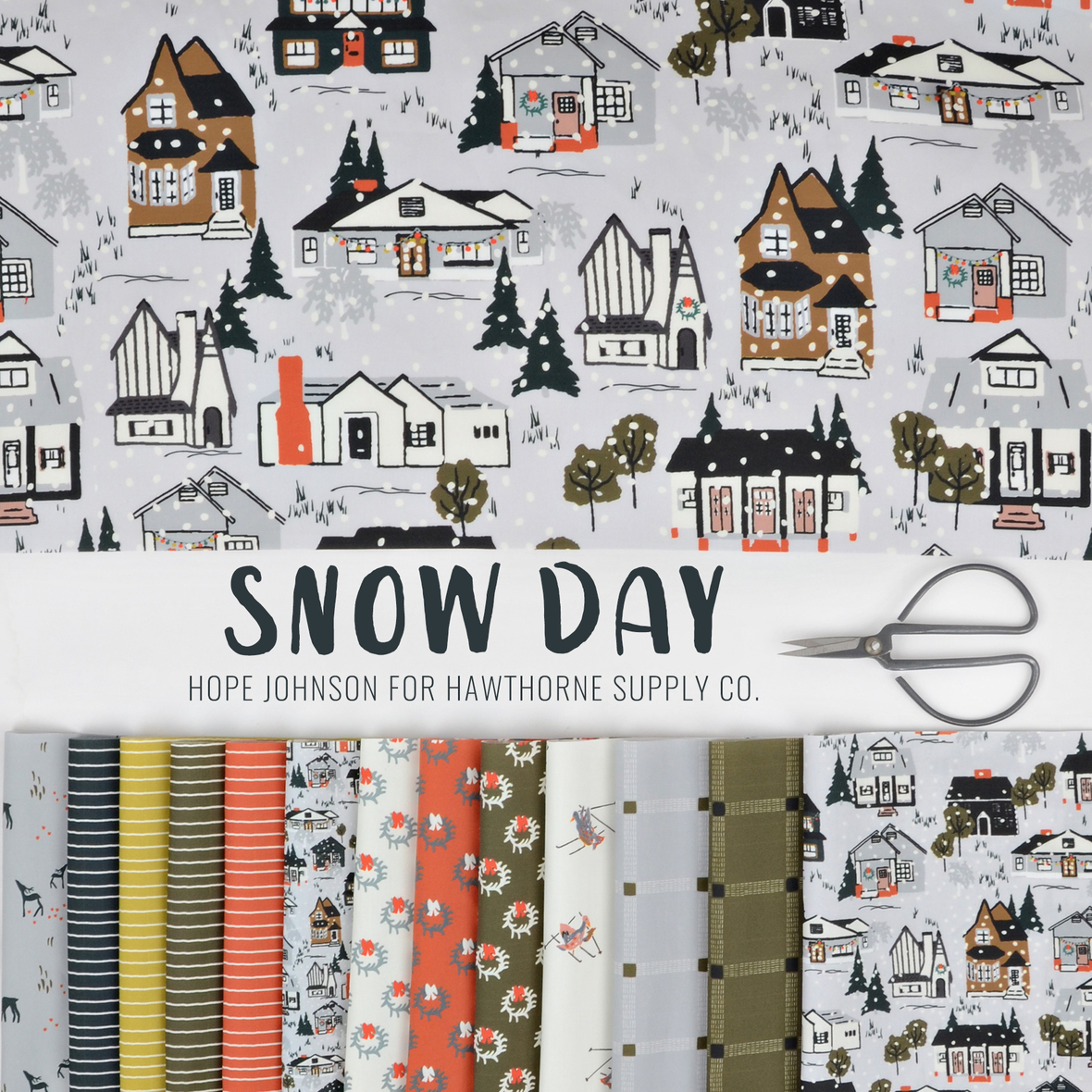 Snow Day by Hope Johnson for Hawthorne Supply Co Christmas fabric
