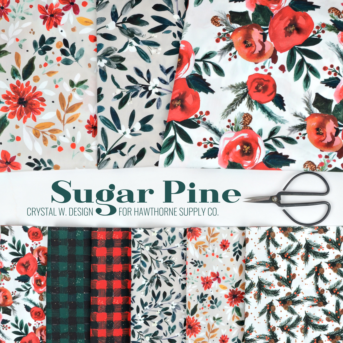 Sugar Pine Christmas fabric Crystal Walen for Hawthorne Supply Co.