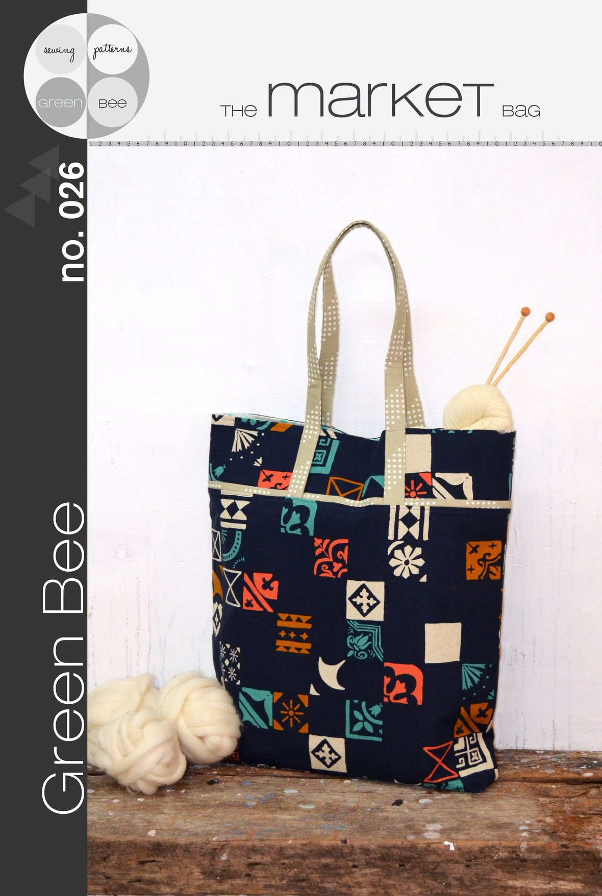 green bee design market bag sewing pattern