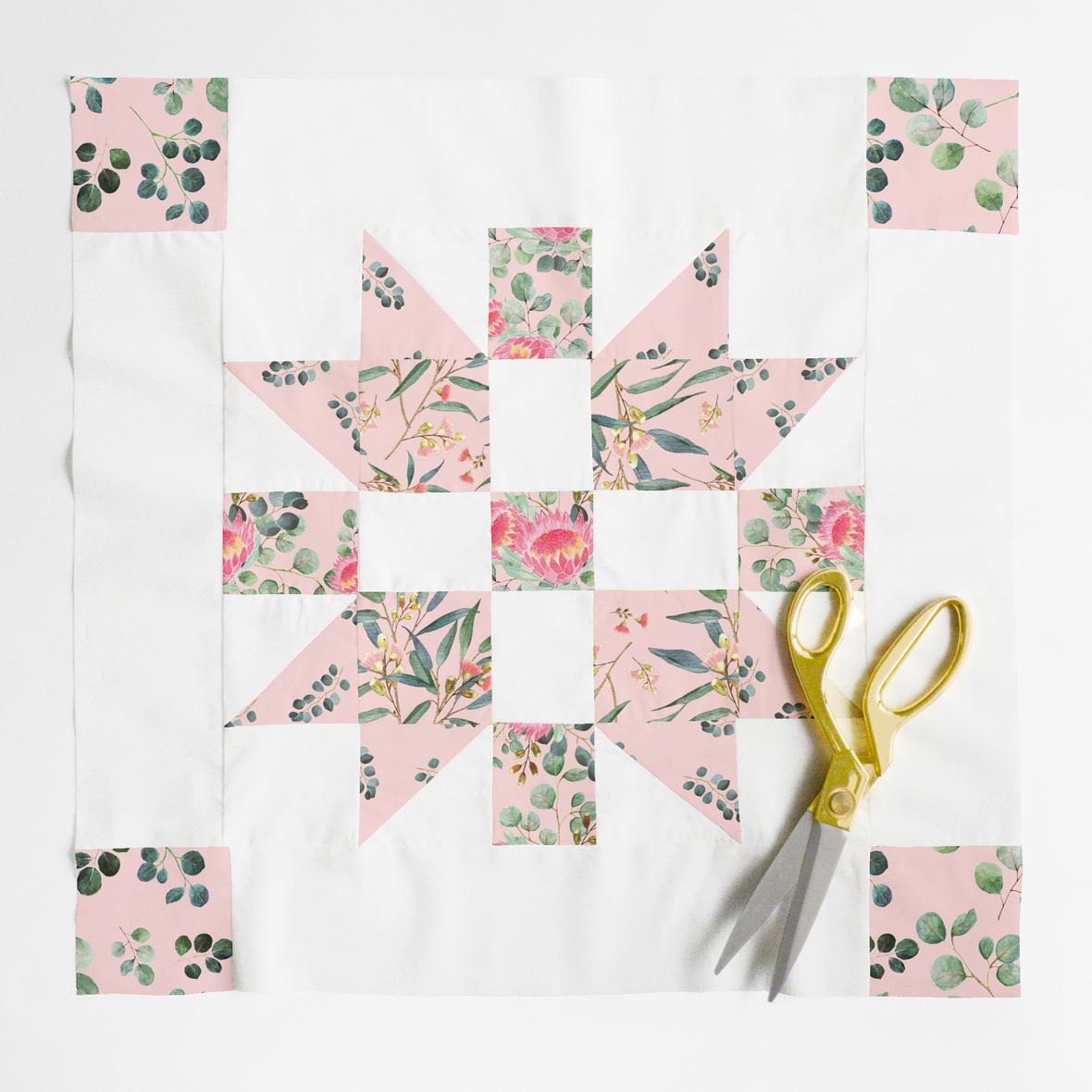 christmas joy quilt block pink