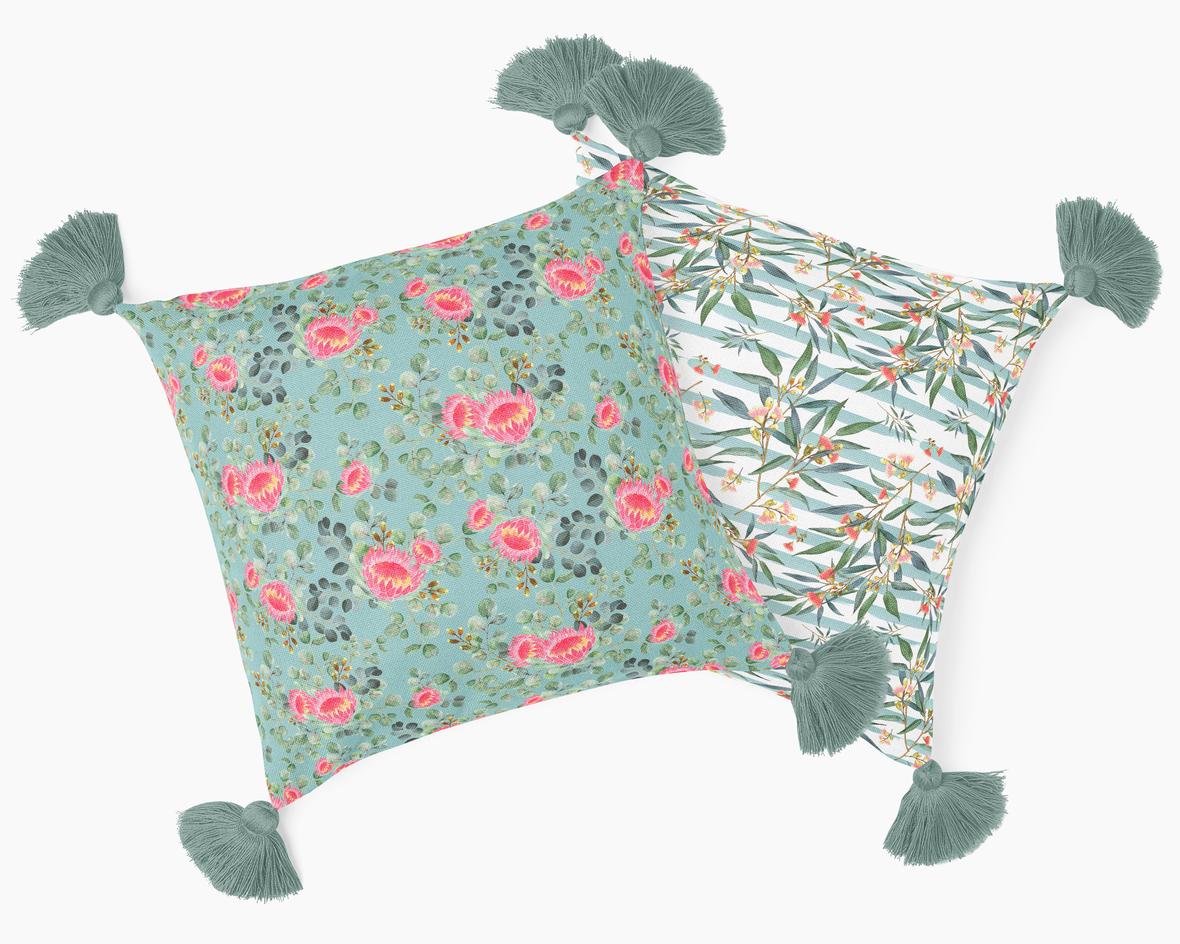 Pillows with Tassels EG Blue GreenTassels
