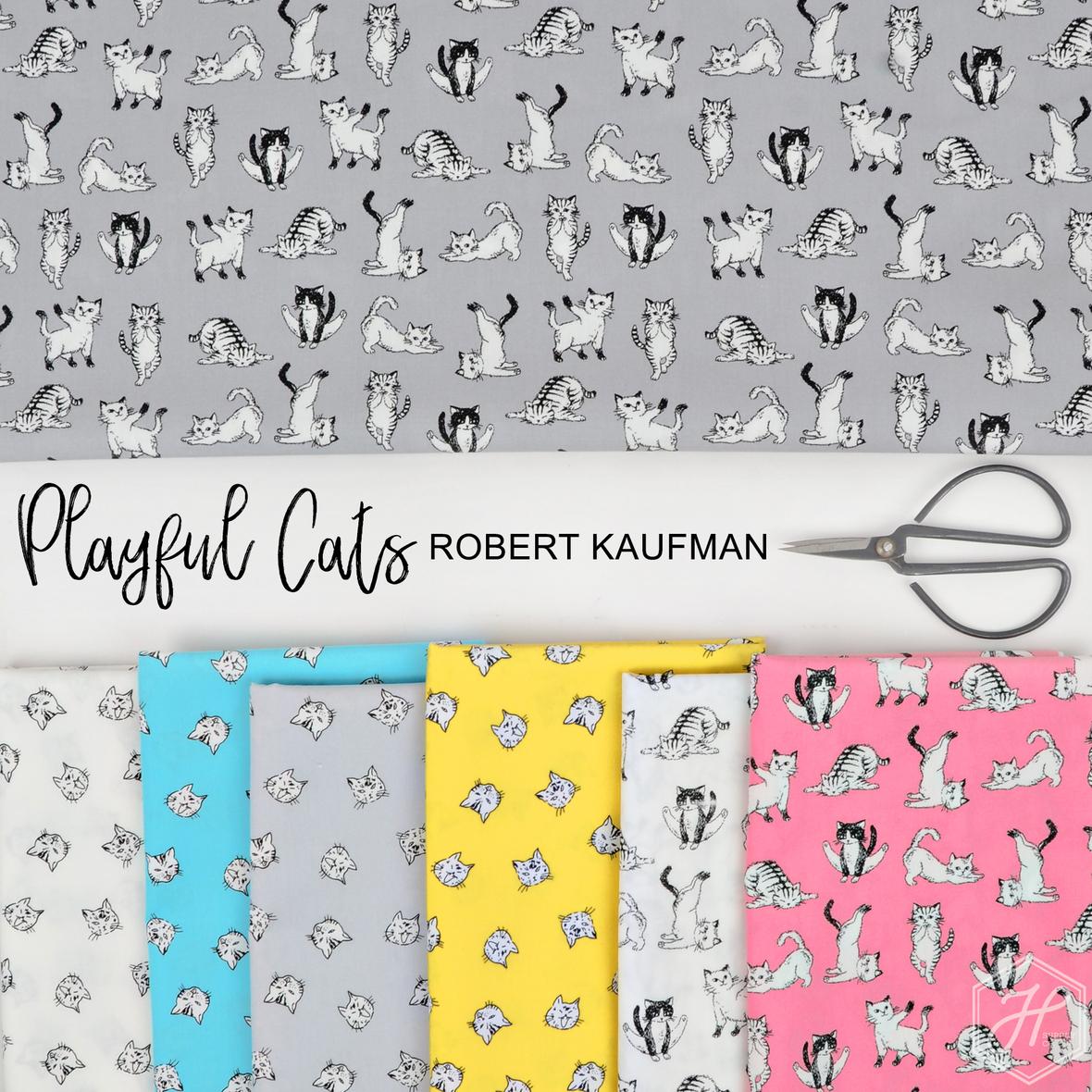 Playful Cats Robert Kaufman Fabric at Hawthorne Supply Co