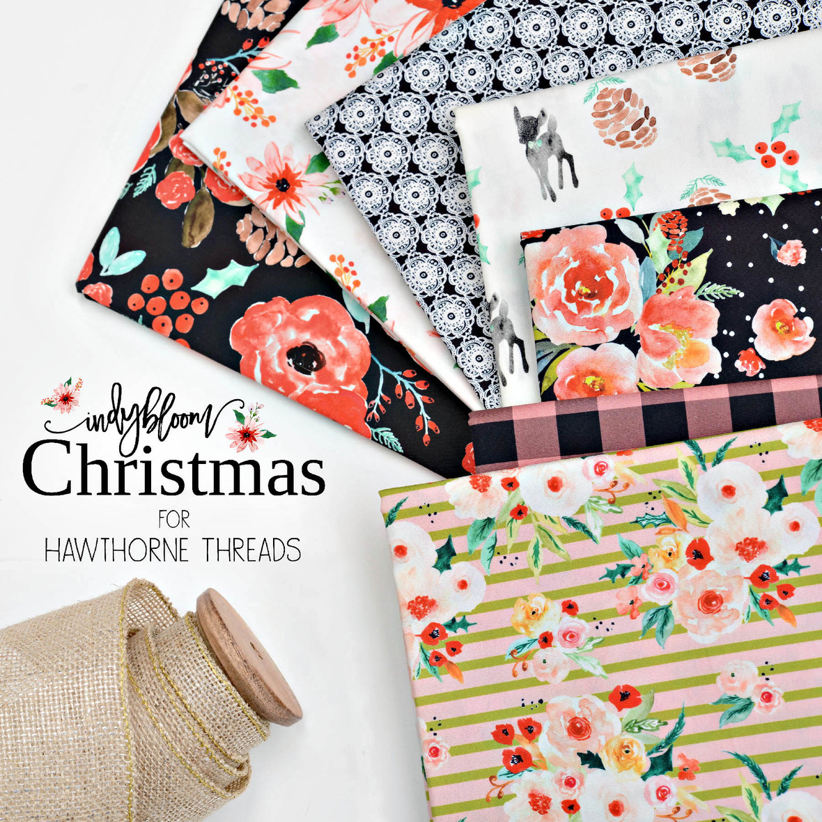 Indy Bloom Christmas Fabric for Hawthorne Threads Final