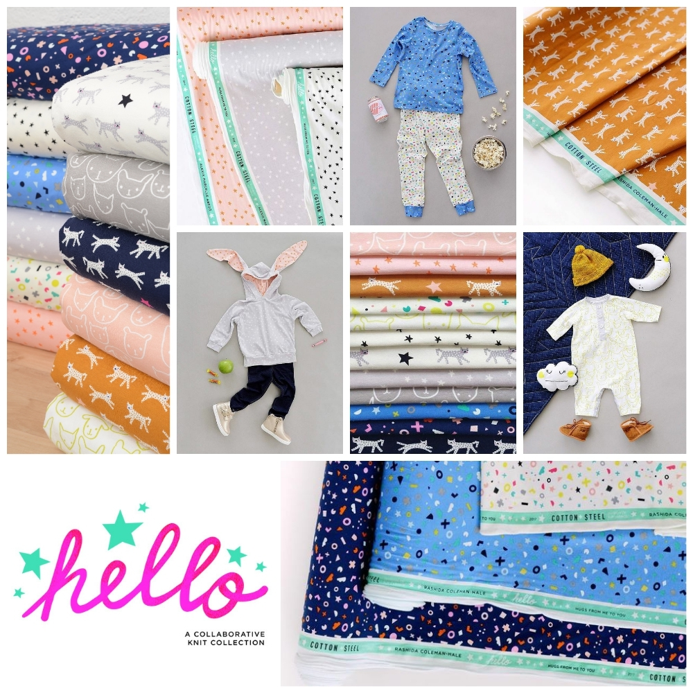 Hello Knit Fabric Poster