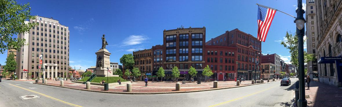 Monument Square panorama Portland Maine