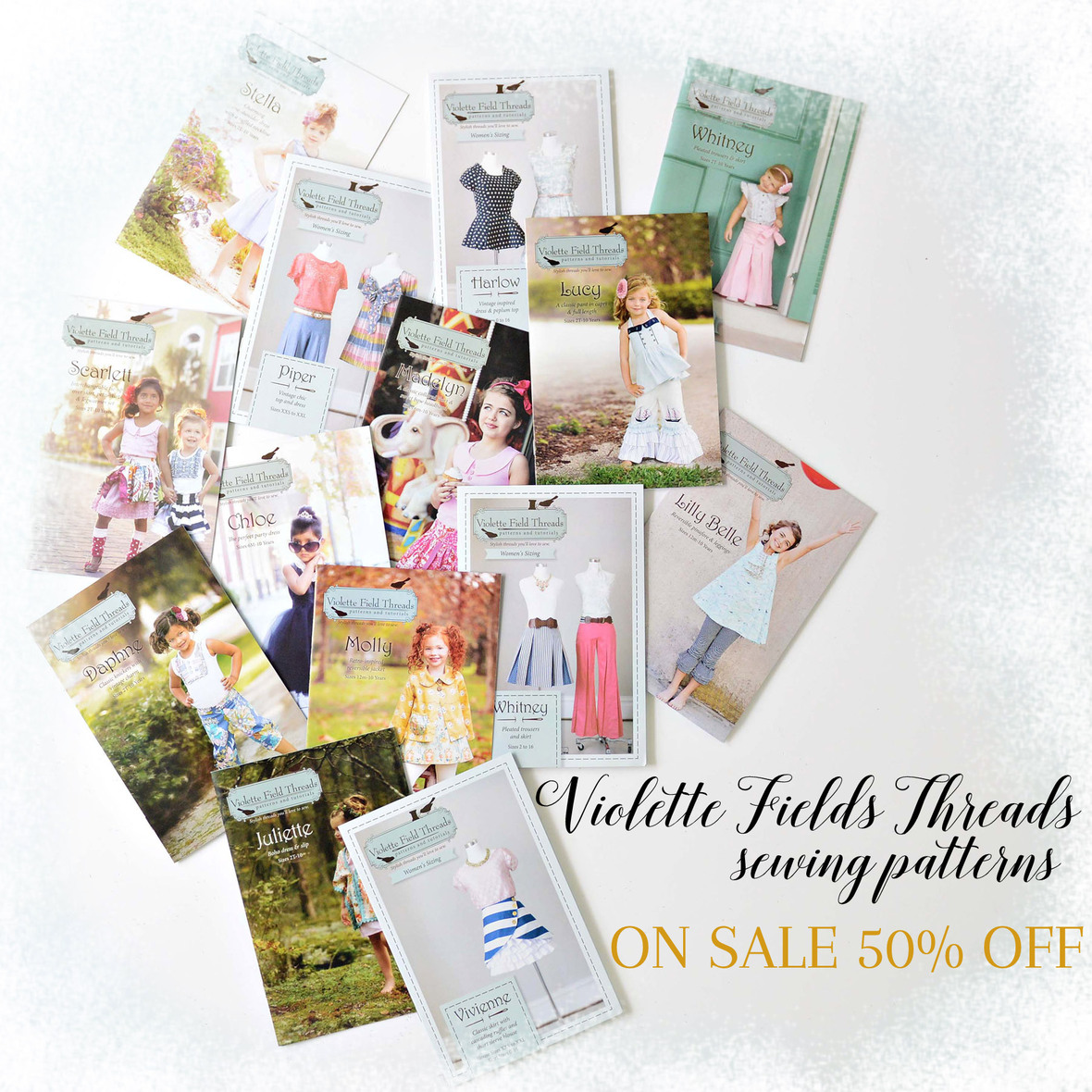 Violette Fields Threads Sewing Patterns On Sale with frosty border 6x6