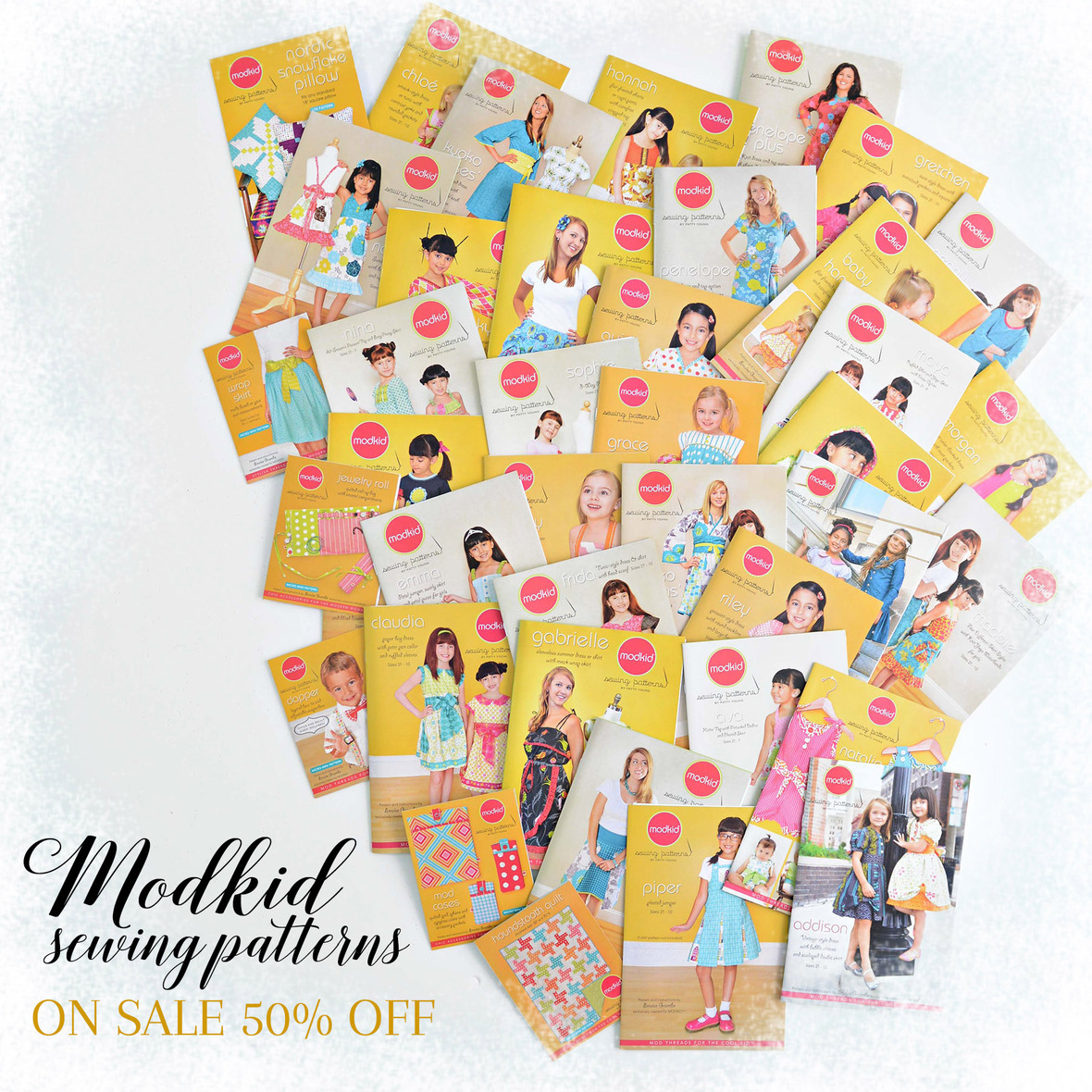 Modkid Sewing Patterns On Sale with frosty border 6x6