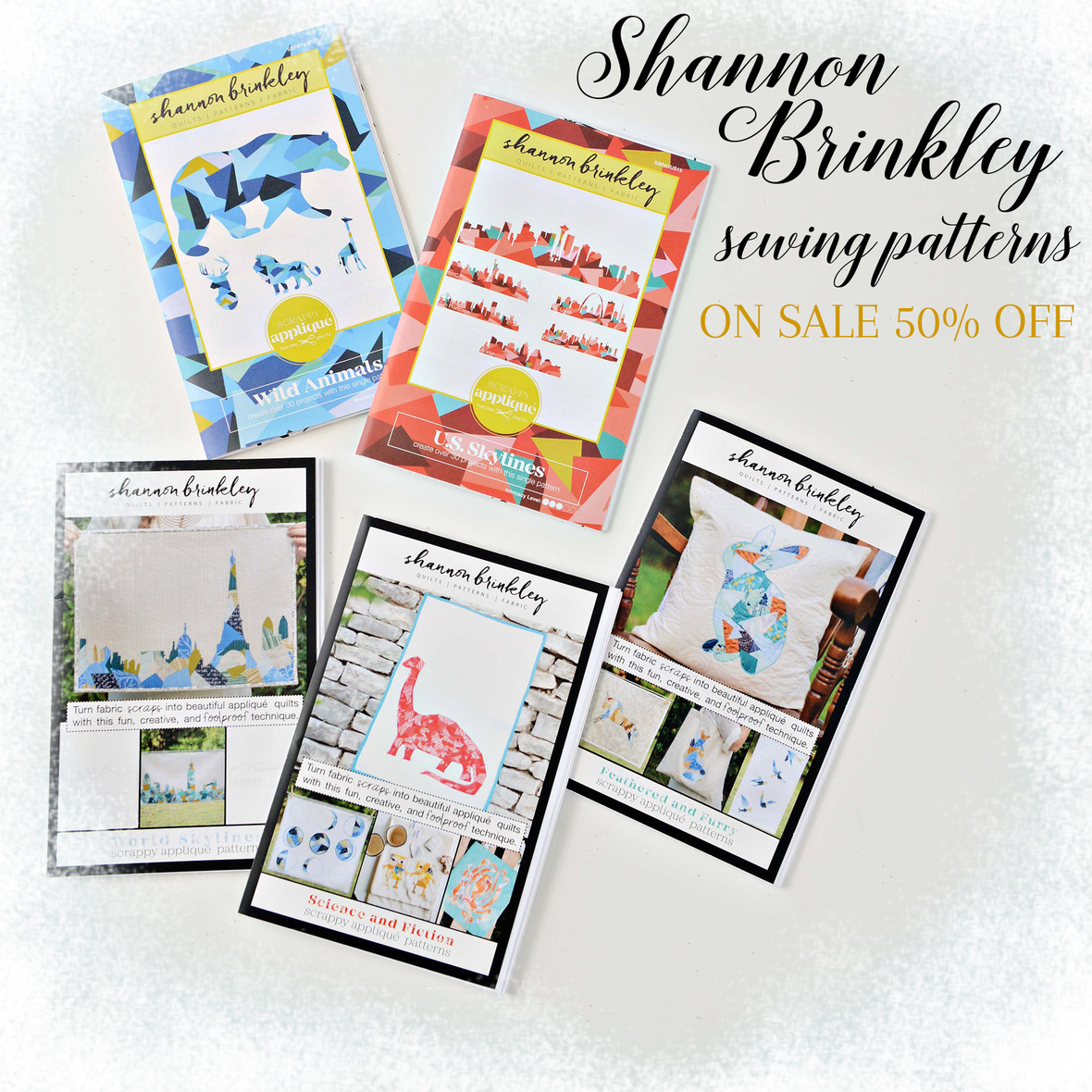 Shannon Brinkley Patterns On Sale with frosty border 6x6 text