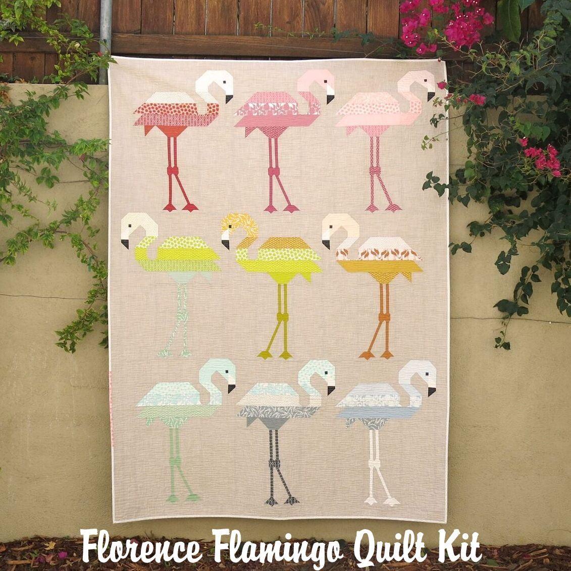 elizabeth hartman florence flamingo quilt kit sewing pattern